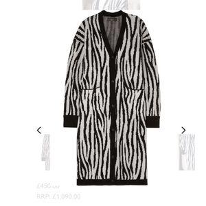 Amiri zebra print cashmere and wool blend cardigan